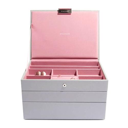 Šperkovnice Stackers Šedá/růžová | Jewellery Box Set Classic