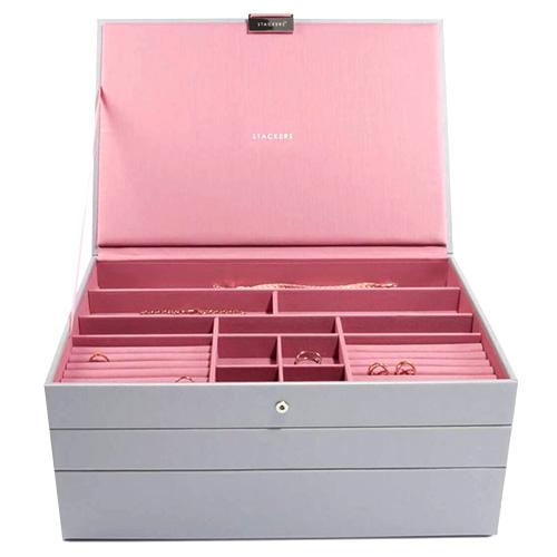 Šperkovnice Stackers Šedá/růžová | Jewellery Box Set Supersize