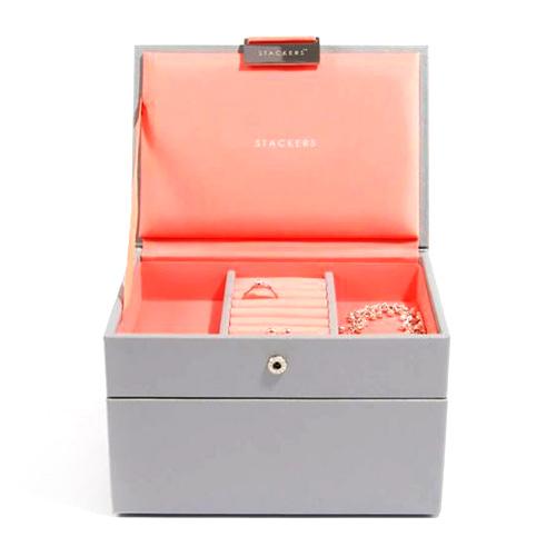 Šperkovnice Stackers Šedá/korálově červená | Jewellery Box Set Mini