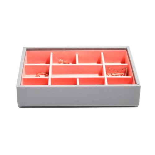 Stackers Patro šperkovnice Stacker Šedá/korálově červená | Jewellery Box Layers Mini
