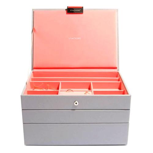 Šperkovnice Stackers Šedá/korálově červená   Jewellery Box Set Classic