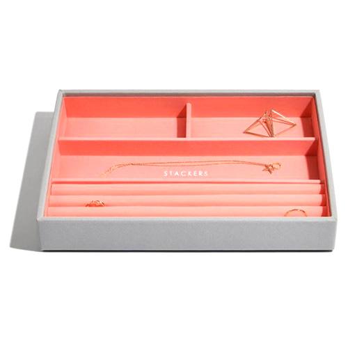 Patro šperkovnice Stackers Šedá/korálově červená | Jewellery Box Layers Classic