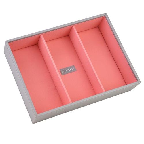 Stackers Patro šperkovnice Stacker Šedá/korálově červená | Jewellery Box Layers Classic