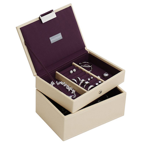Šperkovnice Stackers Krémová/purpurová | Jewellery Box Set Mini