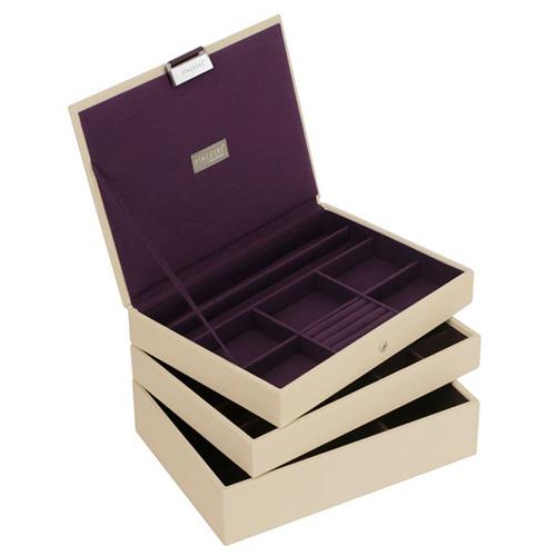Šperkovnice Stackers Krémová/purpurová | Jewellery Box Set Classic