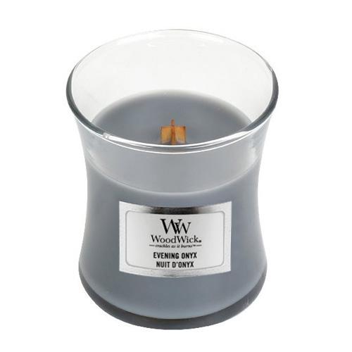 Svíčka oválná váza WoodWick Večerní onyx, 85 g