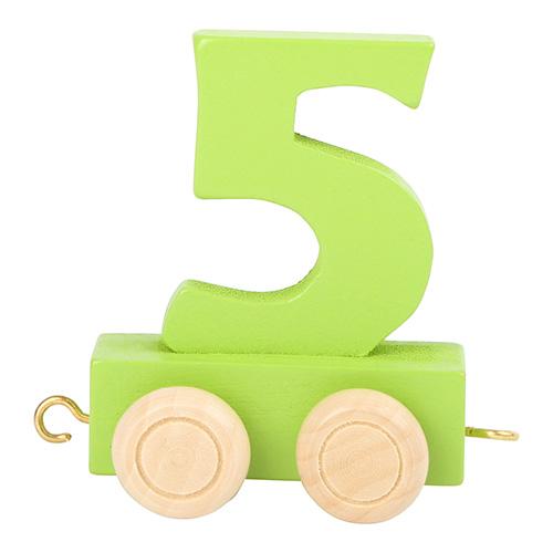 Small foot by Legler Vagónek dřevěné vláčkodráhy - barevné číslice - číslo 5 Rozměr: cca. 5x3x6 cm Věk: 3+ Vybranou číslici napište prosí