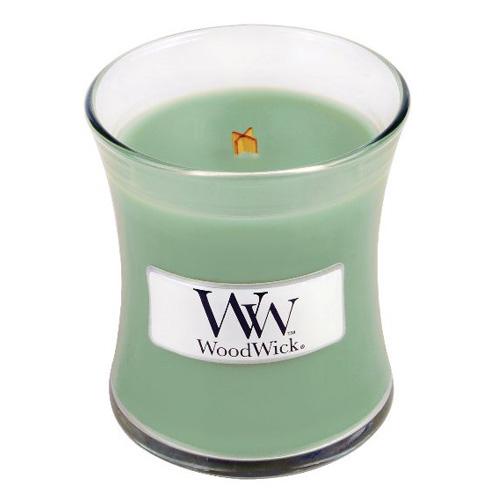 Svíčka oválná váza WoodWick Vrba a mech, 85 g