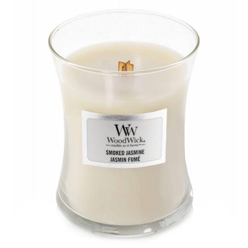 Svíčka oválná váza WoodWick Kouřový jasmín, 85 g