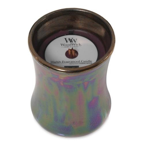 Svíčka keramická oválná váza WoodWick Tmavý mák, 133.2 g