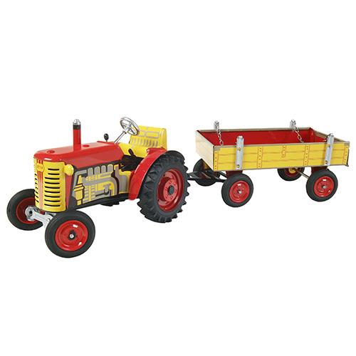 Kovap Traktor Zetor s valníkem plechový červený, červené kov. disky