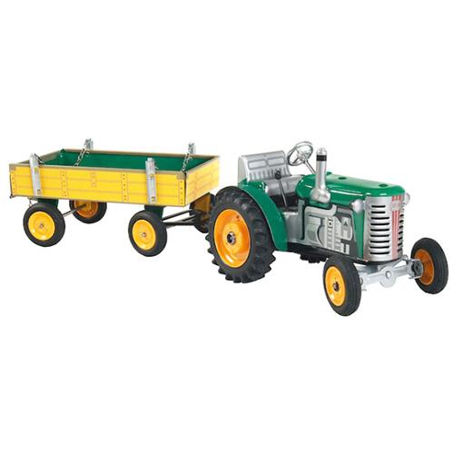 Kovap Traktor Zetor s valníkem plechový zelený, žluté kov. disky