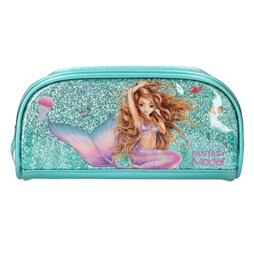 Kosmetická taška Fantasy Model Mořská panna, tyrkysová s flitry