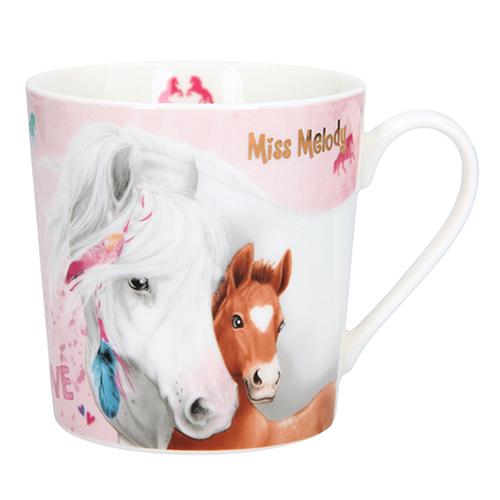 Hrnek Miss Melody Miss Melody a hříbě, růžový, 300 ml