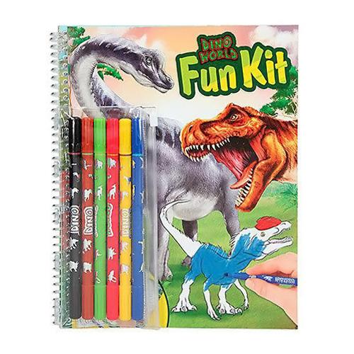 Omalovánky Dino World Fun Kit, 6 fixů