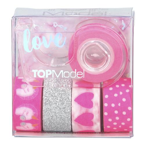 Dekorační lepicí pásky Top Model ASST 1x držák, 5x páska - růžové