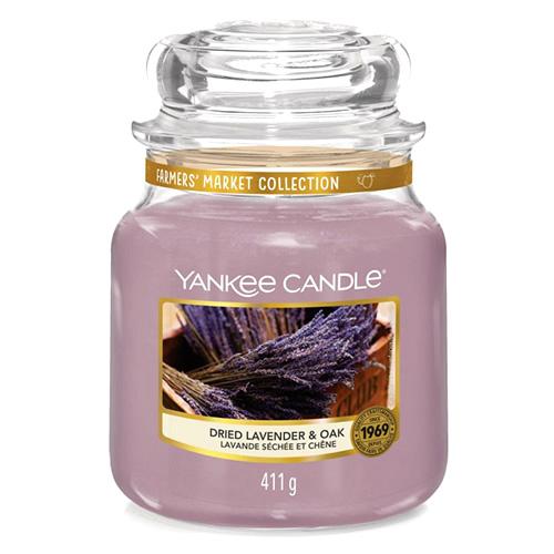 Svíčka ve skleněné dóze Yankee Candle Sušená levandule a dub, 410 g
