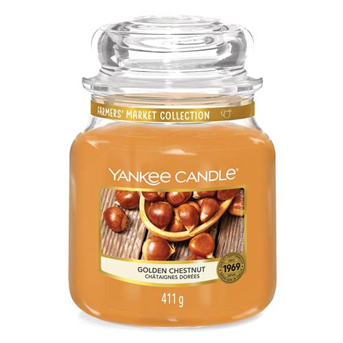 Svíčka ve skleněné dóze Yankee Candle Zlatý kaštan, 410 g