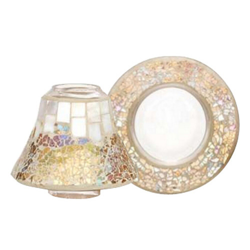 Dárková sada Yankee Candle Malý talířek + stínítko, perleťově-zlatá mozaika