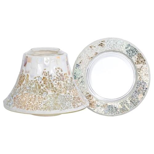 Dárková sada Yankee Candle Velký talířek + stínítko, perleťově-zlatá mozaika