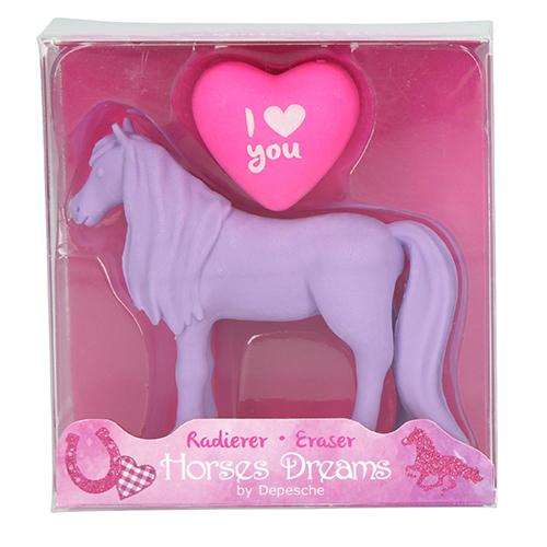 Gumovací pryž Horses Dreams ASST Fialový kůň, 2 ks