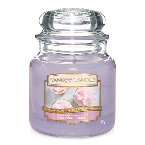 Svíčka ve skleněné dóze Yankee Candle Sladká ranní růže, 410 g