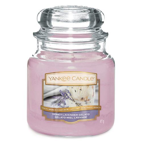 Svíčka ve skleněné dóze Yankee Candle Levandulová zmrzlina s medem, 410 g