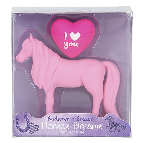 Gumovací pryž Horses Dreams ASST Růžový kůň, 2 ks