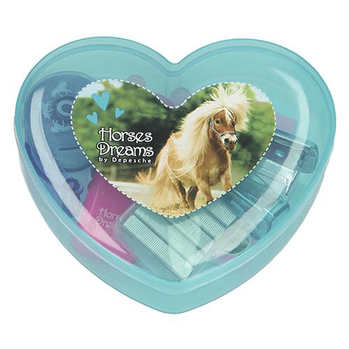 Mini set na psací stůl Horses Dreams ASST Tyrkysový box - zvýrazňovač, lepící bločky, sešívačka, sponk