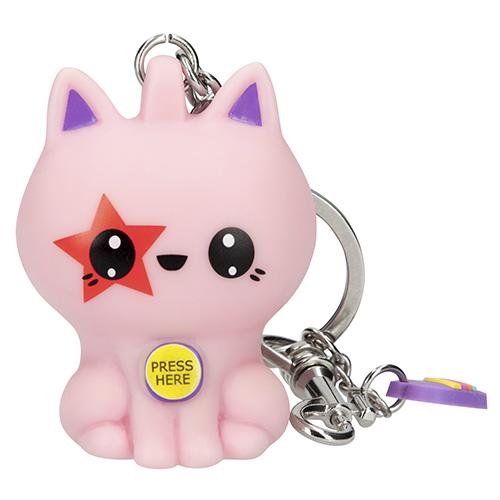 Přívěsek na klíče Manga Model Růžová kočička, svítící