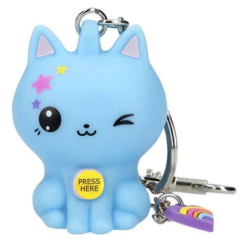 Přívěsek na klíče Manga Model Modrá kočička, svítící