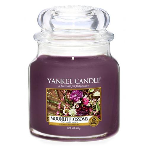 Svíčka ve skleněné dóze Yankee Candle Květiny ve svitu měsíce, 410 g