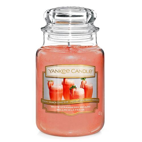 Svíčka ve skleněné dóze Yankee Candle Jahodové Bellini, 623 g