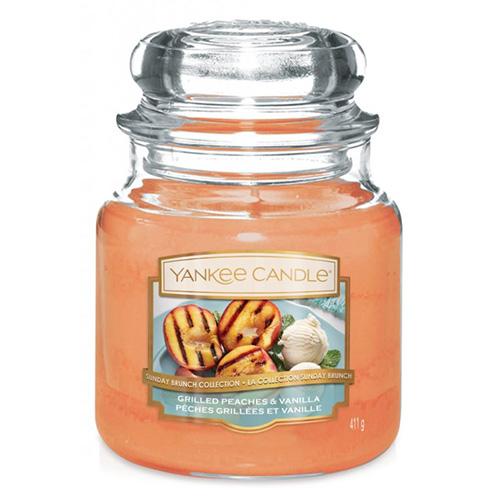 Svíčka ve skleněné dóze Yankee Candle Grilované broskve a vanilka, 410 g