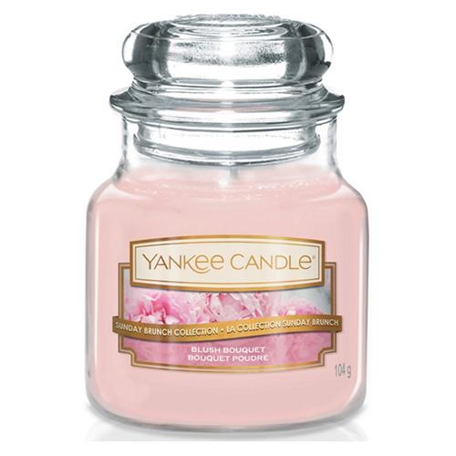 Svíčka ve skleněné dóze Yankee Candle Růžová kytice, 104 g