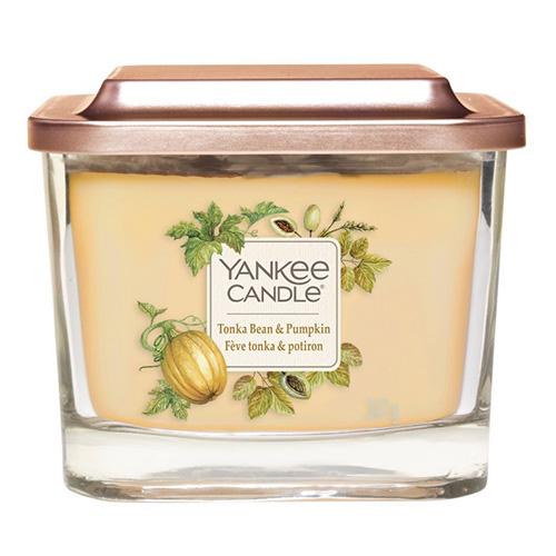 Svíčka ve skleněné váze Yankee Candle Fazole Tonka a dýně, 347 g