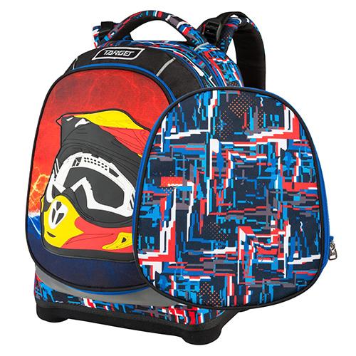 Školní batoh Target Motorkářská helma, červeno-modré vzory