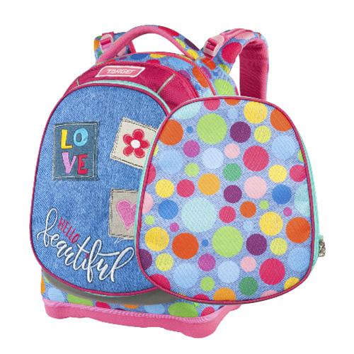 Školní batoh Target Barevné puntíky, růžovo-modrý