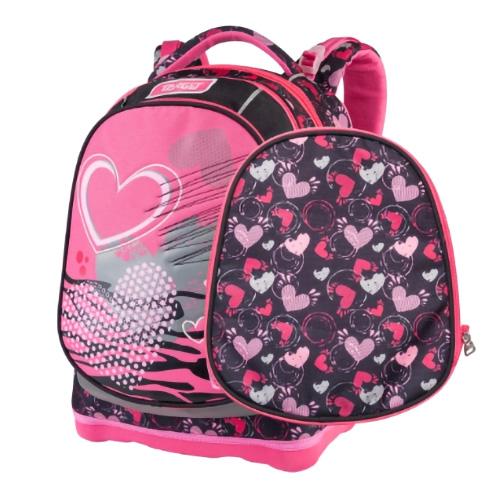 Školní batoh Target Srdce, růžovo-černý