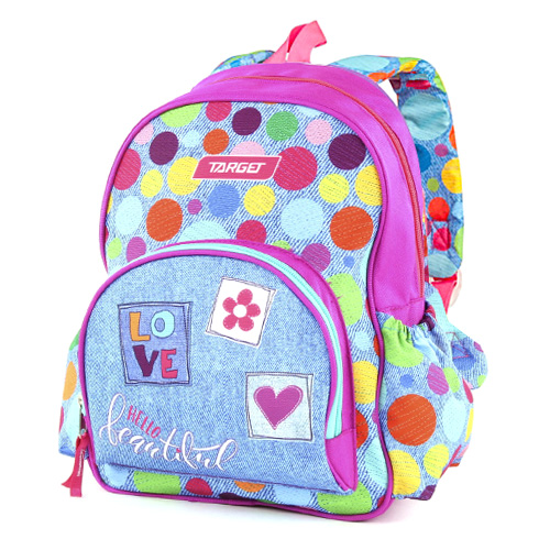 Batůžek Target Barvné puntíky, růžovo-modrý