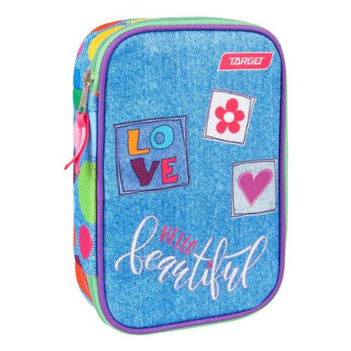 Školní penál s náplní Target Barvné puntíky, jednopatrový, růžovo-modrý