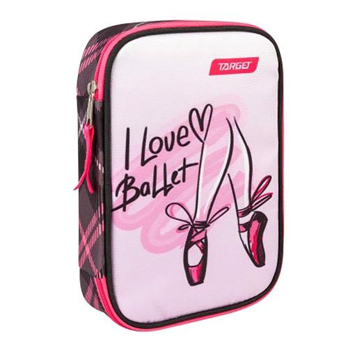 Školní penál s náplní Target I Love Ballet, jednopatrový, růžovo-černý