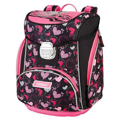 Školní aktovka Target Srdce, růžovo-černá