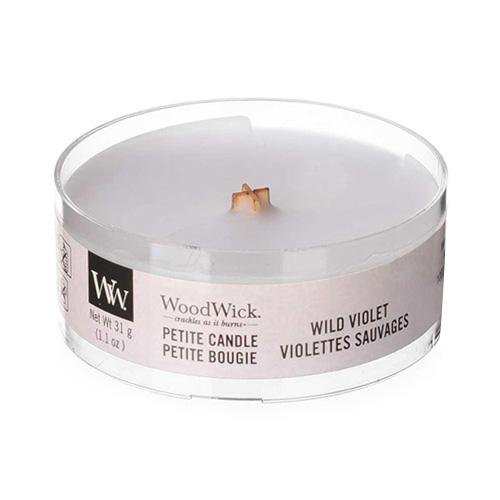Drobná svíčka WoodWick Divoká fialka, 31 g
