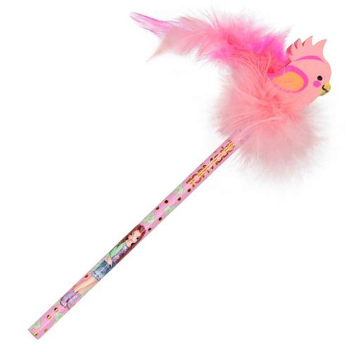 Tužka s gumou Top Model ASST Papoušek, růžové chmýří
