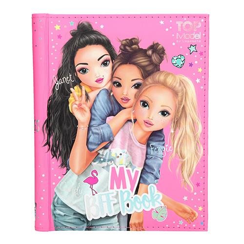 Kniha přátelství Top Model Janet, Fergie a Candy, se samolepkami, 110 stran