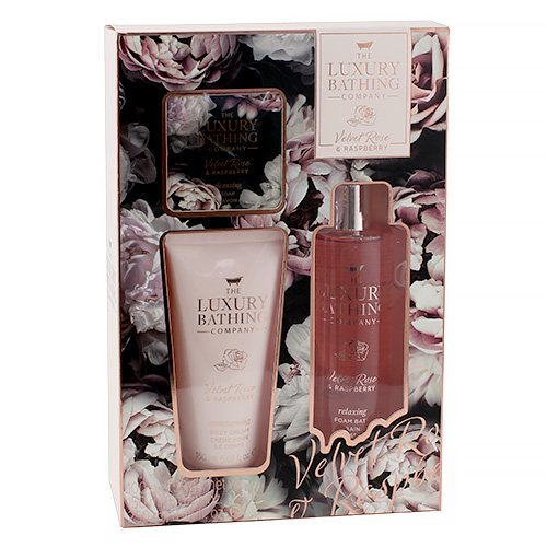 Dámská koupelová sada Grace Cole Sametová růže a malina, 3-dílná
