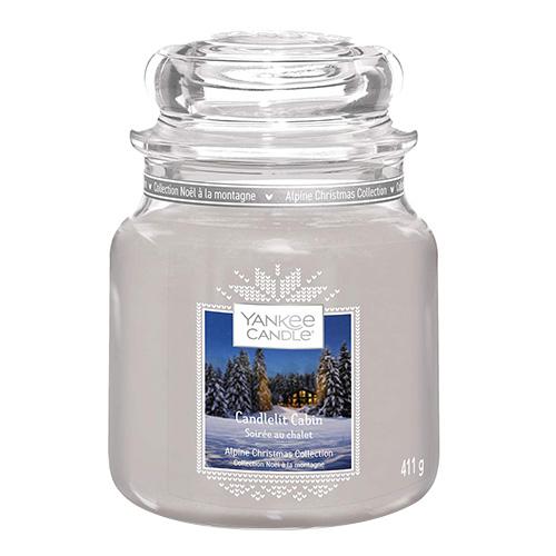 Svíčka ve skleněné dóze Yankee Candle Chata ozářena svíčkou, 410 g