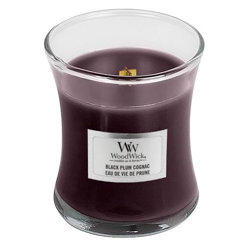 Svíčka oválná váza WoodWick Koňak z černých švestek, 85 g