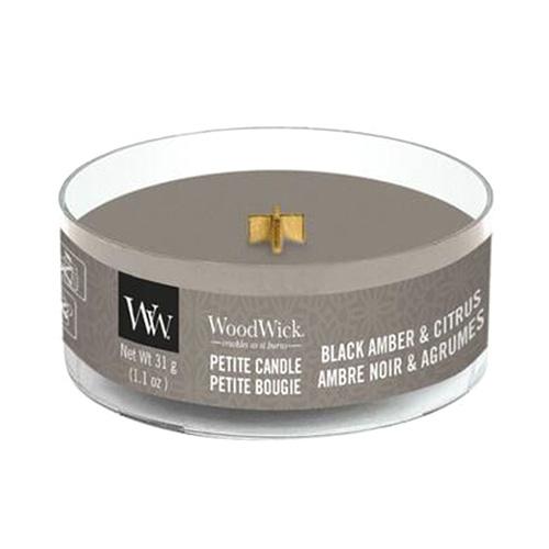 Drobná svíčka WoodWick Černá ambra a citrus, 31 g